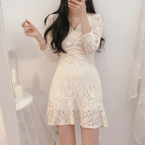 Dress Spring 2021 Off white, black S,M,L,XL Short skirt singleton  Short sleeve commute V-neck middle-waisted Solid color Socket Ruffle Skirt routine Others Type H Other / other Korean version Lace Lace other