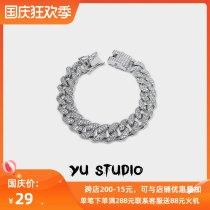 Cuba Bracelet Minority Wang Jiaer Same Hip hop trend hiphop Korean version personality Inlaid diamond lovers Bracelet ornaments