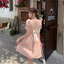 Dress Summer 2021 Apricot, white, pink S, M Mid length dress singleton  Short sleeve commute square neck Solid color Socket A-line skirt puff sleeve Others 18-24 years old Type A Other / other Korean version 71% (inclusive) - 80% (inclusive) other