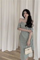 Dress Summer 2021 Black, bean green S, M longuette singleton  Short sleeve commute other High waist other other Irregular skirt other camisole 18-24 years old Type A Other / other Korean version zipper 51% (inclusive) - 70% (inclusive)