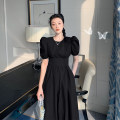 Dress Summer 2021 Black, light water blue S,M,L Mid length dress singleton  Short sleeve commute other High waist Solid color Socket A-line skirt routine Others 18-24 years old Type A Other / other Korean version