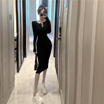 Dress Spring 2021 Gray, black Average size Mid length dress singleton  Long sleeves commute V-neck High waist Solid color other routine Others 18-24 years old Type H Other / other Korean version