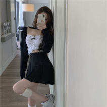 skirt Summer 2021 One size fits all, s, m, l White chest, black shawl, black skirt Short skirt commute High waist A-line skirt Solid color Type A 18-24 years old 81% (inclusive) - 90% (inclusive) Other / other cotton Korean version
