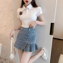 skirt Summer 2021 M, S White (T-shirt)), denim blue (skirt) Short skirt commute High waist Denim skirt other 18-24 years old 31% (inclusive) - 50% (inclusive) Other / other Korean version