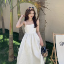 Dress Summer 2021 White, black S, M Mid length dress singleton  Sleeveless commute square neck High waist Solid color zipper A-line skirt other camisole 18-24 years old Type A Other / other Korean version