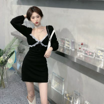 Dress Spring 2021 black M, S Short skirt singleton  Long sleeves commute other High waist Socket other routine Others 18-24 years old Other / other Korean version Lace
