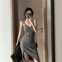 Dress Spring 2021 Gray, black Average size Short skirt singleton  Sleeveless commute High waist Solid color Socket Irregular skirt other camisole 18-24 years old Type A Other / other Korean version 51% (inclusive) - 70% (inclusive) brocade other