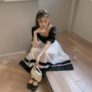 skirt Summer 2021 Average size Black top, white skirt Mid length dress commute High waist A-line skirt Solid color Type A 18-24 years old Other / other Korean version