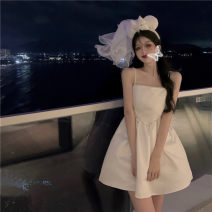 Dress Summer 2021 white S,M,L Mid length dress singleton  Sleeveless commute High waist Solid color other A-line skirt camisole 18-24 years old Type A Other / other Korean version