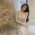 Dress Summer 2021 Pink flowers, apricot flowers S,M,L Mid length dress singleton  Sleeveless commute High waist Broken flowers other other camisole 18-24 years old Other / other Korean version polyester fiber
