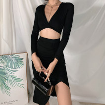 Dress Autumn 2020 black S,M,L Mid length dress Two piece set Long sleeves street V-neck High waist 18-24 years old Sisjuly S1738580 91% (inclusive) - 95% (inclusive) cotton Europe and America