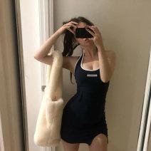 Dress Summer of 2019 Black, dark blue S,M,L Short skirt singleton  High waist camisole 18-24 years old Sisjuly D1734339 91% (inclusive) - 95% (inclusive) other polyester fiber