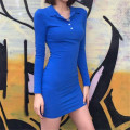 Dress Spring 2020 Blue, black S,M,L Short skirt singleton  Long sleeves street High waist 18-24 years old Sisjuly D1735917 91% (inclusive) - 95% (inclusive) polyester fiber Europe and America
