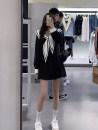 Dress Spring 2021 Black, white Average size Short skirt singleton  Long sleeves Sweet Admiral High waist Pleated skirt routine Type A college