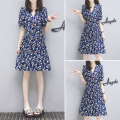 Dress Spring 2021 Picture color S,M,L,XL,2XL Middle-skirt singleton  Short sleeve commute V-neck middle-waisted Broken flowers Single breasted A-line skirt puff sleeve Others 25-29 years old Type A Other / other Korean version other