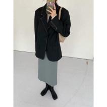 skirt Spring 2021 S,M,L Off white, khaki, bean green Mid length dress commute High waist A-line skirt Solid color 18-24 years old Korean version