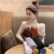 Wool knitwear Winter 2020 Average size Blue, apricot, yellow, gray, khaki, white, coffee, black, brick red Long sleeves singleton  Socket other 31% (inclusive) - 50% (inclusive) Regular routine commute Self cultivation High collar routine Solid color Socket Korean version 18-24 years old