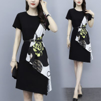 Women's large Summer 2021 black Large XL, large XXL, large XXL, large XXXXL, large XXXXL, large L Dress singleton  commute easy moderate Socket Long sleeves Solid color, letter square neck Medium length Cotton, nylon, others Three dimensional cutting routine AJ 25-29 years old Lace stitching other