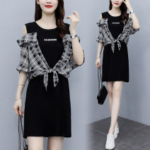 Dress Summer 2021 black L,XL,2XL,3XL,4XL,5XL Mid length dress singleton  Long sleeves commute square neck routine 25-29 years old aj Lace stitching 8295#