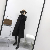 woolen coat Spring 2021 S,M,L black wool 71% (inclusive) - 80% (inclusive) Medium length Long sleeves commute Single breasted other tailored collar Solid color High waist type Korean version 17W001 25-29 years old Solid color polyester fiber