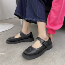 Low top shoes 35,36,37,38,39 Other / other Black, beige Round head PU Flat bottom Middle heel (3-5cm) Shallow mouth Superfine fiber Spring 2021 Flat buckle Britain Adhesive shoes Youth (18-40 years old), student Solid color rubber Single shoes Microfiber skin daily MH21216621 Face dressing