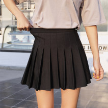 skirt Autumn of 2019 S. M, l, XL, 2XL, 3XL, 4XL, 110 (30-40 kg recommended), 120 (40-50 kg recommended), 130 (50-60 kg recommended), 140 (60-72 kg recommended) Short skirt commute High waist Pleated skirt Solid color Type A 25-29 years old 91% (inclusive) - 95% (inclusive) other Shan Qi AI Yi