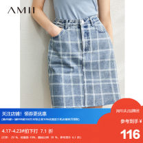 skirt Summer 2020 170/76A/XL,160/68A/M,155/64A/S,165/72A/L Denim blue Short skirt commute High waist A-line skirt lattice Type A 18-24 years old QZ-1203TM0108 More than 95% Amii cotton Make old