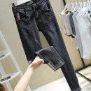 Women's large Spring 2021, summer 2021 927 light blue, 927 black, 6606 dark blue M / 90-105 Jin, L / 105-120 Jin, XL / 120-140 Jin, 2xl140-160 Jin, 3XL / 160-180 Jin, 4XL / 180-200 Jin, super elastic! Slim fit!! Jeans singleton  commute Self cultivation moderate Solid color Korean version Ocnltiy