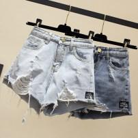 Jeans Summer 2021 Light blue, dark blue S,M,L,XL,2XL,3XL,4XL,5XL shorts High waist Wide legged trousers Thin money 18-24 years old Ocnltiy