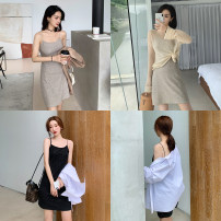 Dress Summer 2020 S,M,L Short skirt Sleeveless commute other Solid color Socket A-line skirt camisole 25-29 years old Type A chic moss Korean version 30% and below other other