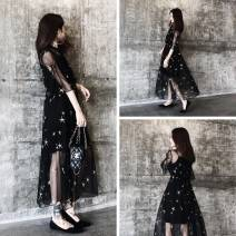 Women's large Summer 2021 black Dress singleton  commute easy thin Socket elbow sleeve Shape, solid color Korean version V-neck polyester Three dimensional cutting pagoda sleeve 25-29 years old Gauze 96% and above Medium length Ruffle Skirt Hollowing out zipper