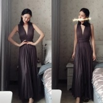 Dress Spring 2020 Black, meat pink, premium grey, light khaki S,M,L longuette singleton  Sleeveless commute V-neck High waist Solid color Big swing Hanging neck style 18-24 years old Type A Other / other 81% (inclusive) - 90% (inclusive) other