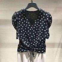 shirt black 2 = s, 3 = m, 4 = XL, 5 = XL Spring 2021 polyester fiber 91% (inclusive) - 95% (inclusive) Short sleeve Versatile Regular V-neck Socket puff sleeve Dot Self cultivation Novel goldette