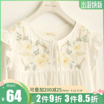 Nightdress ME JU White dress, white lotus leaf skirt 155(S),160(M),165(L),170(XL) Sweet Long sleeves Leisure home longuette spring Solid color youth Crew neck cotton Embroidery More than 95% Cotton gauze MS3891