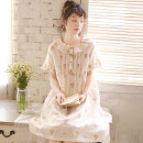 Nightdress ME JU Light green, beige 155(S),160(M),165(L),170(XL) Sweet Short sleeve Leisure home Middle-skirt summer Plants and flowers youth Crew neck cotton lace More than 95% pure cotton MS5765 200g and below
