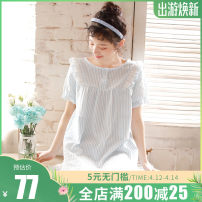 Nightdress ME JU Pink, blue 160(M),165(L),170(XL) Sweet Short sleeve Leisure home Middle-skirt summer stripe youth Crew neck cotton lace More than 95% pure cotton MS5716