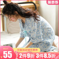 Nightdress ME JU Yellow flowers, blue flowers, 3852 light green, yellow flowers - round collar 155(S),160(M),165(L),170(XL) Sweet Middle sleeve Leisure home Middle-skirt summer Plants and flowers youth V-neck cotton printing More than 95% Cotton gauze MS3829