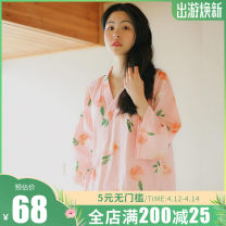 Nightdress Other / other 155(S),160(M),165(L),170(XL) Sweet three quarter sleeve Leisure home Middle-skirt summer Plants and flowers youth V-neck cotton printing More than 95% Cotton gauze