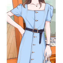 Dress Summer 2020 Light blue, dark blue S. M, l, XL, 2XL, 3XL, oversized longuette singleton  Short sleeve commute square neck High waist Solid color Single breasted A-line skirt routine Others 18-24 years old Type A Other / other Korean version L20200704 81% (inclusive) - 90% (inclusive) Denim other