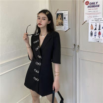 Women's large Summer 2021 Black dress M [recommended 90-100 kg], l [recommended 100-120 kg], XL [recommended 120-140 kg], 2XL [recommended 140-160 kg], 3XL [recommended 160-180 kg], 4XL [recommended 180-200 kg] shirt singleton  commute Straight cylinder thin Cardigan Short sleeve Solid color routine