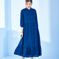 Dress Spring 2021 Blue blue gray M L XL 2XL Mid length dress singleton  Long sleeves commute Polo collar High waist Solid color Single breasted Big swing routine Others 35-39 years old Type H Ernust / ennus lady Lotus leaf edge 7Q988510 More than 95% silk Mulberry silk 100%