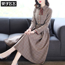 Dress Autumn of 2019 coffee S M L XL XXL Mid length dress singleton  Long sleeves street Doll Collar middle-waisted lattice Single breasted Big swing routine Others 40-49 years old Type X Lingzi Feifei LZ19Q100078 More than 95% polyester fiber Polyester 100% Pure e-commerce (online only)