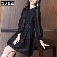 Dress Winter 2020 black S M L XL XXL Middle-skirt singleton  Long sleeves commute Crew neck middle-waisted Solid color zipper A-line skirt Lotus leaf sleeve Others 35-39 years old Type X Lingzi Feifei Ol style LZ20Q100163 More than 95% organza  polyester fiber Polyester 100%