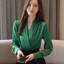 Lace / Chiffon Autumn of 2019 White, purple, green, Burgundy, champagne, black, glamour red, dot, pink S,M,L,XL,2XL Long sleeves commute Socket singleton  Self cultivation Super short V-neck Solid color routine 25-29 years old Other / other Splicing Korean version 91% (inclusive) - 95% (inclusive)