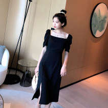 Dress Summer 2020 Elegant black, collect and buy some praise to get a bra S,M,L,XL,2XL,3XL Mid length dress Short sleeve commute square neck High waist Solid color zipper A-line skirt puff sleeve T-type Korean version Open back, fold, split 81% (inclusive) - 90% (inclusive) other polyester fiber