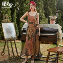 Dress Summer 2020 Decor S M L longuette singleton  Sleeveless Sweet Crew neck Loose waist Decor Socket Big swing camisole 18-24 years old Type H format Open back lace up print More than 95% polyester fiber Polyester 100% Bohemia Pure e-commerce (online only)