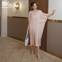 Dress Autumn 2020 S M L longuette singleton  elbow sleeve commute V-neck Loose waist Solid color Socket Irregular skirt Bat sleeve Others 18-24 years old Type H format Korean version Pleated stitching More than 95% Chiffon polyester fiber Polyester 100% Pure e-commerce (online only)