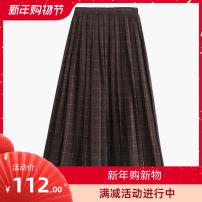 skirt Autumn 2020 S,M,L,XL Retro style Mid length dress Versatile High waist Pleated skirt lattice Type A 51% (inclusive) - 70% (inclusive) Wool other