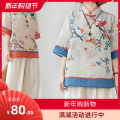 Women's large Summer 2020 Blue, orange L [95-120 kg], XL [120-140 kg], 2XL [140-170 kg] shirt singleton  commute easy thin Socket elbow sleeve Color, plant, flower Retro stand collar routine Cotton, hemp printing and dyeing routine Other 25-29 years old Button 71% (inclusive) - 80% (inclusive)