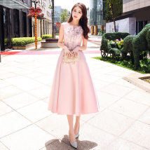 Dress / evening wear Pink Pink Short Pink Wedding adult party company annual meeting Custom Contact Customer Service XXL S M L XL Shoulder Winter 2017 A-line skirt 0214578 Long section Korean version Bandages Middle waist 18-25 years old sleeveless The first layer of leather 96% and above